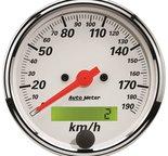 "Autometer Gauge, Speedometer, 3 1/8"", 190km/h, Elec. Prog. w/ LCD Odo, Arctic White 1388-M"