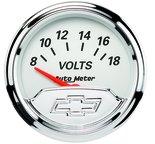 """Autometer Gauge, Voltmeter, 2 1/16"""", 18V, Elec, Chevrolet Heritage Bowtie 1391-00408"""