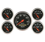 "Autometer Gauge Kit, 5 pc., 3 1/8"" & 2 1/16"", Elec. km/h Speedometer, Designer Black 1421-M"