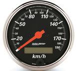 "Autometer Gauge, Speedometer, 3 1/8"", 190km/h, Elec. Prog. w/ LCD Odo, Designer Black 1487-M"