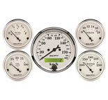 "Autometer Gauge Kit, 5 pc., 3 1/8"" & 2 1/16"", Elec. km/h Speedometer, Old Tyme White 1602-M"