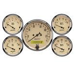 "Autometer Gauge Kit, 5 pc., 3 1/8"" & 2 1/16"", Elec. km/h Speedometer, Antique Beige 1809-M"