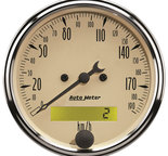 "Autometer Gauge, Speedometer, 3 1/8"", 190km/h, Elec. Prog. w/ LCD Odo, Antique Beige 1887-M"