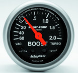 "Autometer Gauge, Vac/Boost, 2 1/16"", 60cmHg - 2.1kg/cm2, Mechanical, Sport-Comp 3303-J"