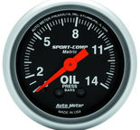 "Autometer Gauge, Oil Pressure, 2 1/16"", 14kg/cm2, Mechanical, Sport-Comp 3322-J"