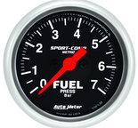 """Autometer Gauge, Fuel Pressure, 2 1/16"""", 7BAR, Digital Stepper Motor, Sport-Comp 3363-M"""