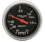 "Autometer Gauge, Vac/Boost, 2 5/8"", 60cmHg - 2.1kg/cm2, Mechanical, Sport-Comp 3401-J"