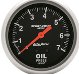 "Autometer Gauge, Fuel Pressure, 2 5/8"", 7.0kg/cm2, Mechanical, Sport-Comp 3421-J"