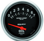 "Autometer Gauge, Oil Pressure, 2 5/8"", 7 BAR, Electric, Sport-Comp 3522-M"