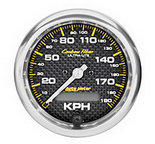 "Autometer Gauge, Speedometer, 3 3/8"", 190kmh, Elec. Programmable, Carbon Fiber 4787-M"