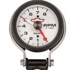 """Autometer Gauge, Tachometer, 3 3/4"""", 8k RPM, Pedestal w/ Red Line, GM Bowtie White 5780-00406"""