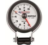 "Autometer Gauge, Tachometer, 3 3/4"", 8k RPM, Pedestal w/ Red Line, GM Perf. White 5780-00407"