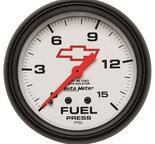 "Autometer Gauge, Fuel Press, 2 5/8"", 15psi, Mech w/Isolator, GM Bowtie White 5813-00406"