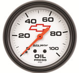"Autometer Gauge, Oil Pressure, 2 5/8"", 100psi, Mechanical, GM Bowtie White 5821-00406"