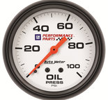 "Autometer Gauge, Oil Pressure, 2 5/8"", 100psi, Mechanical, GM Perf. White 5821-00407"