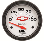 "Autometer Gauge, Oil Pressure, 2 5/8"", 100psi, Electric, GM Bowtie White 5827-00406"