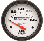 "Autometer Gauge, Oil Pressure, 2 5/8"", 100psi, Electric, GM Perf. White 5827-00407"