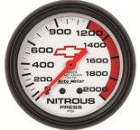 "Autometer Gauge, Nitrous Pressure, 2 5/8"", 2000psi, Mechanical, GM Bowtie White 5828-00406"