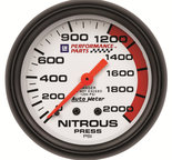 "Autometer Gauge, Nitrous Pressure, 2 5/8"", 2000psi, Mechanical, GM Perf. White 5828-00407"