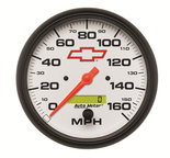 "Autometer Gauge, Speedometer, 5"", 160mph, Elec. Programmable, GM Bowtie White 5889-00406"