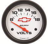"Autometer Gauge, Voltmeter, 2 5/8"", 18V, Electric, GM Bowtie White 5891-00406"