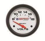 "Autometer Gauge, Voltmeter, 2 5/8"", 18V, Electric, GM Perf. White 5891-00407"