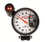 """Autometer Gauge, Tach, 5"""", 10k RPM, Pedestal w/ ext. Shift-Lite, GM Bowtie White 5899-00406"""