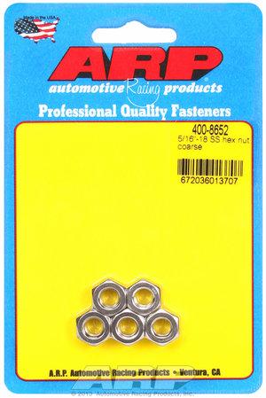 ARP 5/16-18 SS coarse hex nut kit 4008652