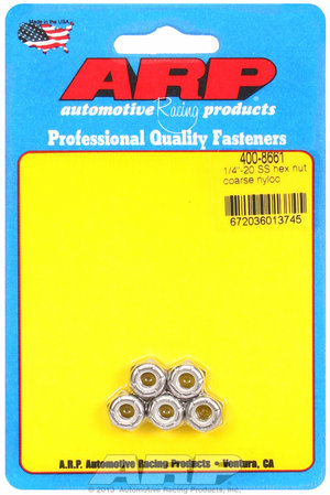 ARP 1/4-20 SS coarse nyloc hex nut kit 4008661
