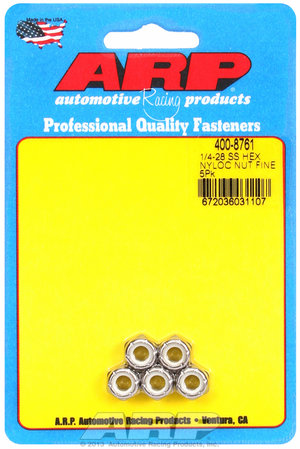 ARP 1/4-28 SS fine nyloc hex nut kit 4008761