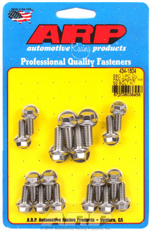 ARP SB Chevy 1-pc SS hex oil pan gasket bolt kit 4341804