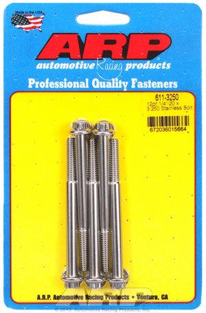 ARP 1/4-20 x 3.250 12pt SS bolts 6113250