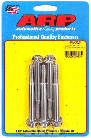 ARP 5/16-18 x 3.000 12pt SS bolts 6123000