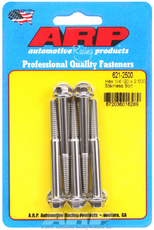 ARP 1/4-20 x 2.500 hex SS bolts 6212500