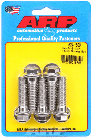 ARP 7/16-14 X 1.500 hex 1/2 wrenching SS bolts 6241500