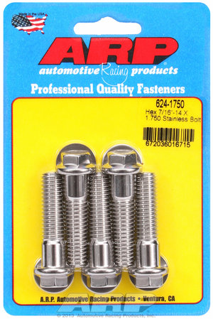 ARP 7/16-14 X 1.750 hex 1/2 wrenching SS bolts 6241750