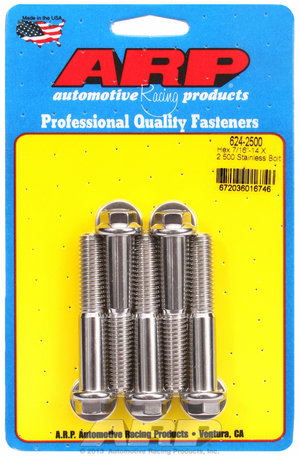 ARP 7/16-14 X 2.500 hex 1/2 wrenching SS bolts 6242500