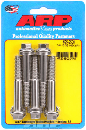 ARP 3/8-16 x 2.500 hex 7/16 wrenching SS bolts 6252500