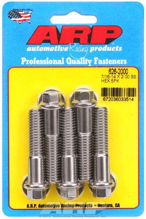 ARP 7/16-14 X 2.000 hex SS bolts 6262000