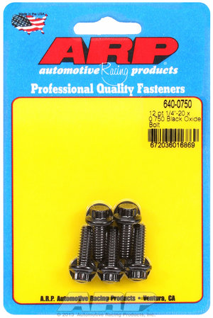 ARP 1/4-20 x 0.750 12pt black oxide bolts 6400750