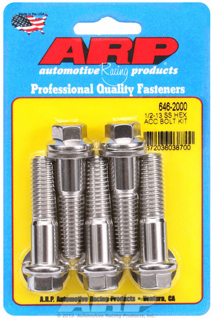 ARP 1/2-13 X 2.000 hex SS bolts 6462000