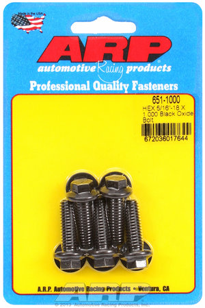 ARP 5/16-18 X 1.000 hex black oxide bolts 6511000