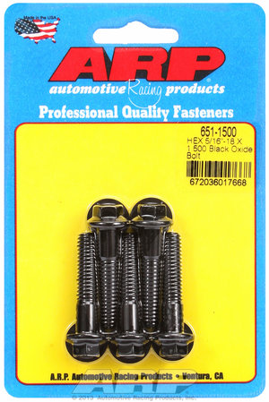 ARP 5/16-18 X 1.500 hex black oxide bolts 6511500