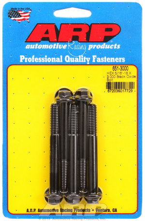 ARP 5/16-18 X 3.000 hex black oxide bolts 6513000