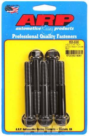 ARP 7/16-14 X 3.000 hex black oxide bolts 6533000