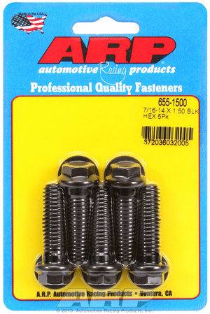 ARP 7/16-14 X 1.500 hex 1/2 wrenching black oxide bolts 6551500