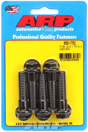 ARP 7/16-14 X 1.750 hex 1/2 wrenching black oxide bolts 6551750