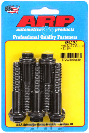 ARP 7/16-14 X 2.250 hex 1/2 wrenching black oxide bolts 6552250