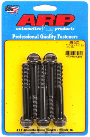 ARP 7/16-14 X 3.000 hex 1/2 wrenching black oxide bolts 6553000