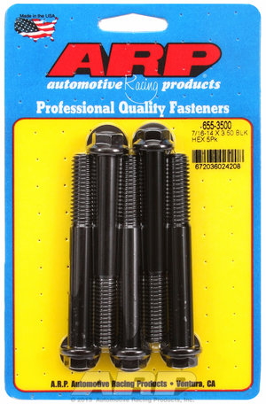 ARP 7/16-14 X 3.500 hex 1/2 wrenching black oxide bolts 6553500